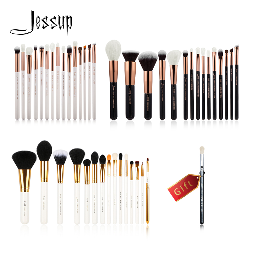 Jessup Buy 3 get 1 gift Makeup Brushes set professional make up kit Eye Liner Shader Foundation Powder Eyeshadow Eyeliner Lip lke makeup tools buy 3 handsel 1 gift 21color eyeshadow palette & makeup brush set & eyebrow eye & eyeliner stencil gift