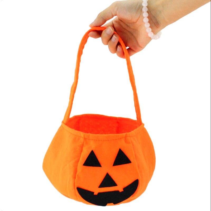 Bolsa de calabaza sonriente para fiestas de Halloween, bolsa de calabaza no tejida, accesorios de Halloween, bolsa de caramelos para niños, truco o trato DTT88