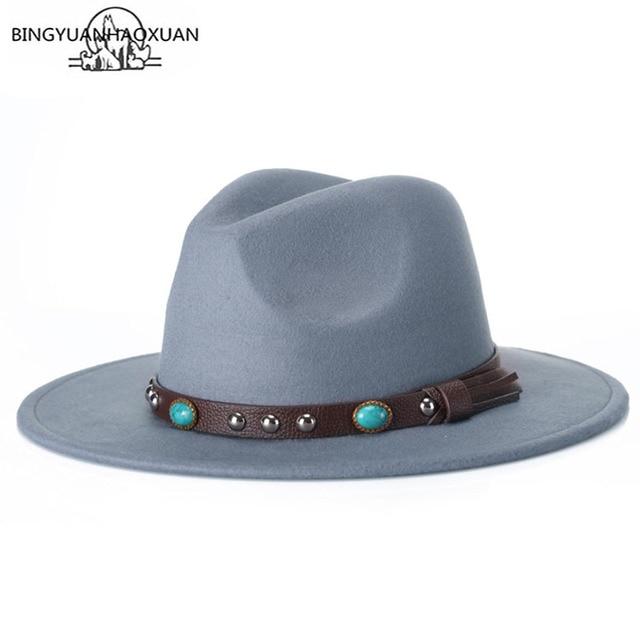 BINGYUANHAOXUAN 2018 Autumn Winter Fedora Hat for Women   Men Classic  Imitation Wool with Wide Felt Floppy 7622f980c6f