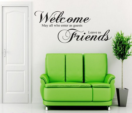 welcome may all who enter friends wall art quote sticker lounge hall decal wall sticker. Black Bedroom Furniture Sets. Home Design Ideas