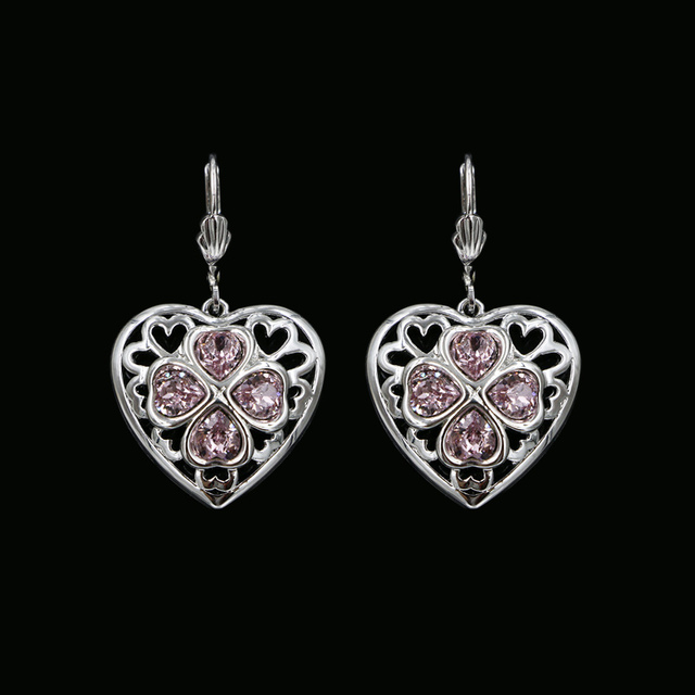 Women Real Austrian Crystal Heart Love Charm Earrings Hollow Out Platinum Plated Fashion Accessories