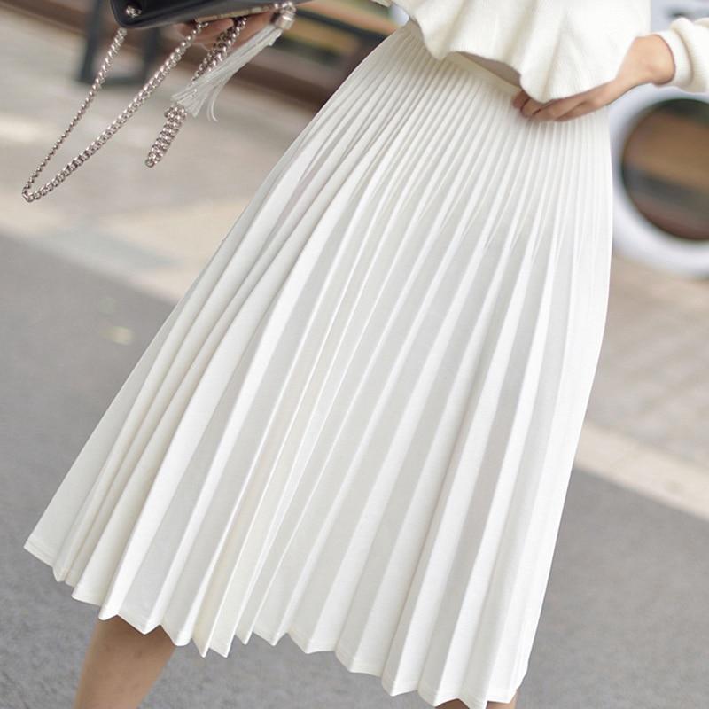 Elegant White Pleated Skirt Women 2019 Fashion High Waist Midi Skirt Female High Quality A-Line Women Pleated Skirt Jupe
