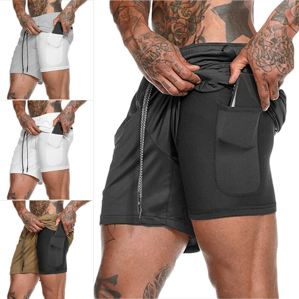 2019 Men 2 In 1 Beach Shorts Athletic Gym Sports Running Training Swimwear Quick Drying Workout Fitness Short Pant