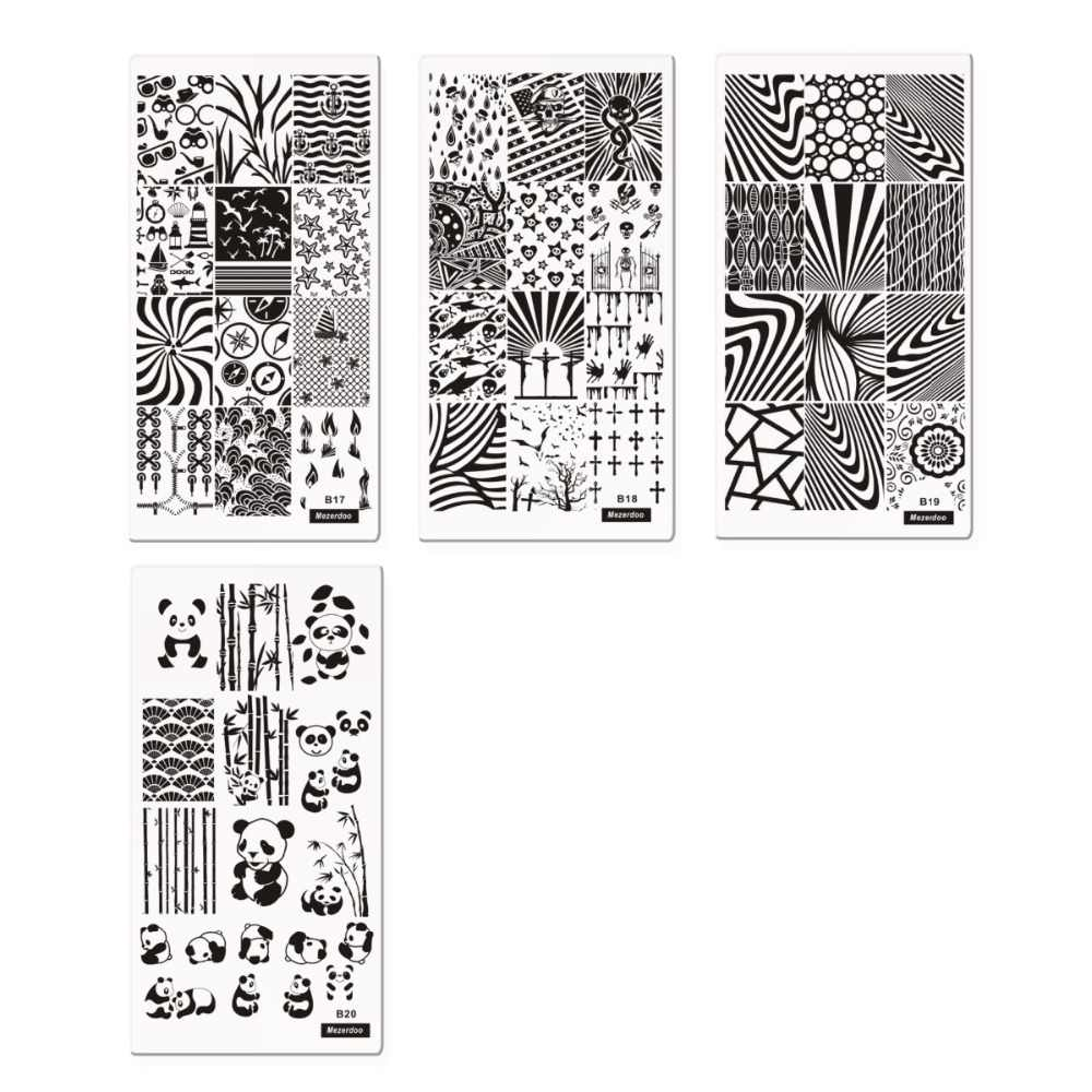 1PC สี่เหลี่ยมผืนผ้าแสตมป์แม่แบบเล็บแผ่น Panda/Mechanical Gears/ยูนิคอร์น/Mermaid รูปแบบเล็บเล็บภาพแผ่น 10 แบบ