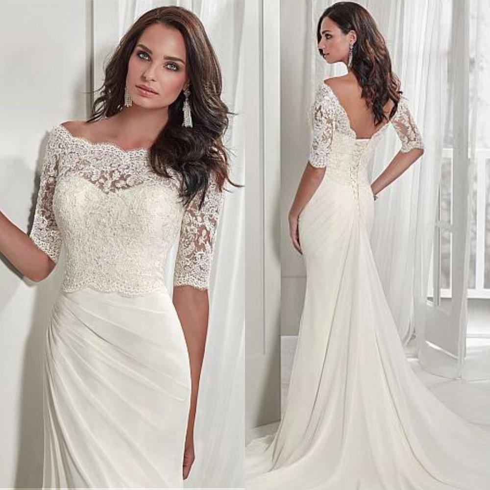 Ruching Wedding Gowns: Chic Sheath Long Wedding Dress With Half Sleeve Lace