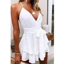 Tosheiny 2020 Women Deep V Off Shoulder Backless Dresses Female Elegant Mini Sol