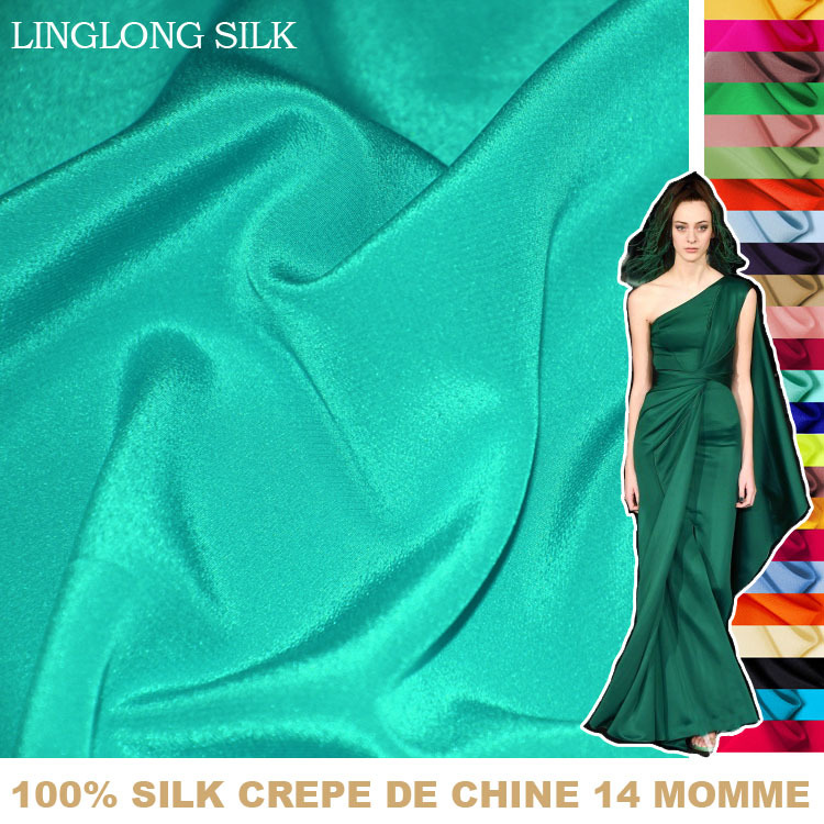 100% SILK CREPE DE CHINE 114cm Width 14momme Pure Mulberry Soft Silk Fabric/for Crafts And Wedding Dress Fabric 1 Meter 31-60