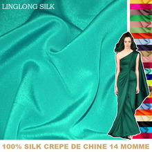 100% SILK CREPE DE CHINE 114cm width 14momme Pure Mulberry soft Silk Fabric/for Crafts and Wedding Dress Fabric 1 meter 31 60