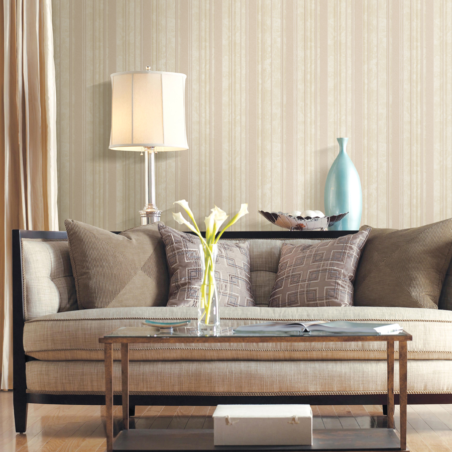 Popular brown stripe wallpaper buy cheap brown stripe for Sala de estar beige