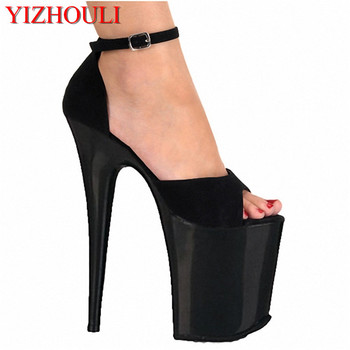 Noble and comfortable velvet package with sandals 20cm high-heeled shoes fashion 8 Inch Spike Heel Sexy Shoes High Platform