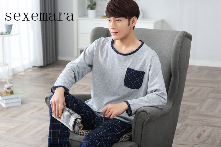SexeMara 2019no Men Cloth 100%cotton O-neck Collar Long Grey Coat Blue Plaid Pants