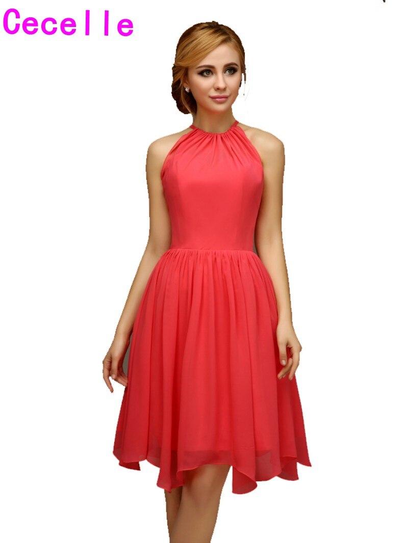 Popular Beach Wedding Coral Bridesmaid Dresses-Buy Cheap Beach ...