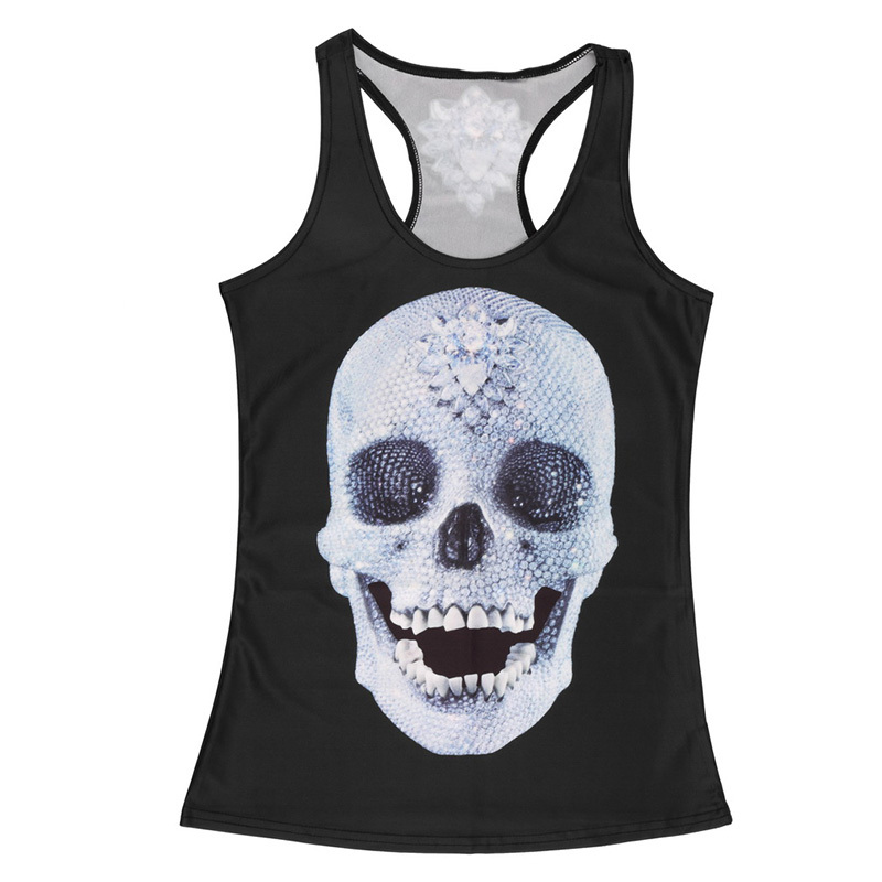 Clothing new women t-shirt black vest tops 3D print <font><b>ribs</b></font> skull bone camisole knitted polyester Sexy Tank top 2016 Fashion