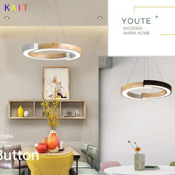 LED Pendant Lights For Living Room Modern White Lustre Wooden Bedroom Lighting Simple Surface Mounted Pendant Lights