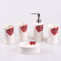 Wedding gift Korean pastoral style bathroom five piece wash set mouth cup soap dish bathroom supplies LO86332