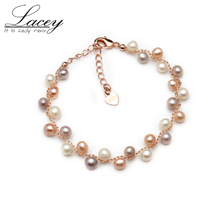Near round freshwater pearl bracelets,multi color natural bracelets & bangles for women