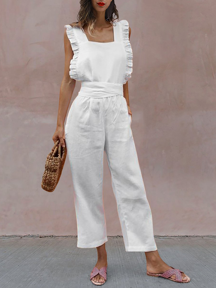 Sexy Backless Sleeveless Linen Jumpsuit Women 2019 Solid Ruffles Strap Bandage Rompers Playsuit Casual Vacation Overalls 3XL