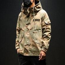 Erkekler askeri kamuflaj Ceket ordu taktik giyim Multicam Erkek Erkek Ceket rüzgarlık moda Chaquet Safari kapşonlu Ceket 2019 kore tarzı giysi 5XL