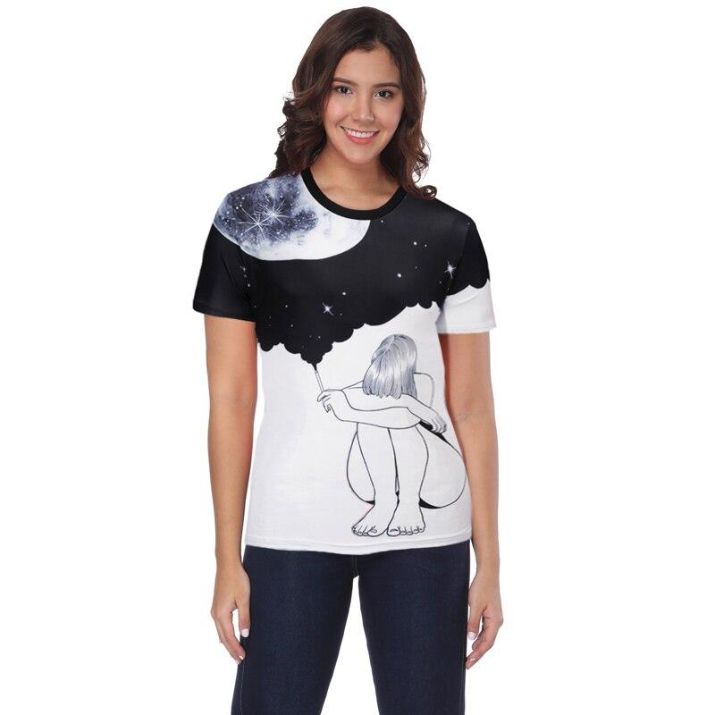 Для мужчин и горе Для мужчин с одежду по 3 d творческой небо девушка с короткими рукавами дизайн круглый воротник для отдыха футболка Размеры...
