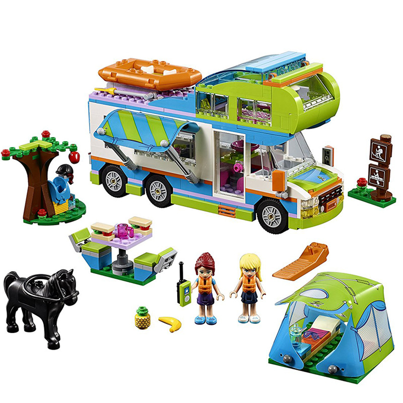 BELA Friends Mias Camper Van City Building Blocks Set Kids Classic Girl Model Toys For Children Gift Compatible Legoings Kit Car цена