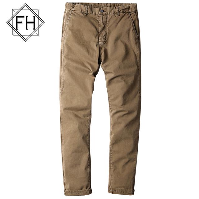 FUHAO Novo Design Verde Do Exército dos homens Calças de Algodão Em Linha Reta Calças Slim Fit Masculino Casual Calça Cáqui, G3501E