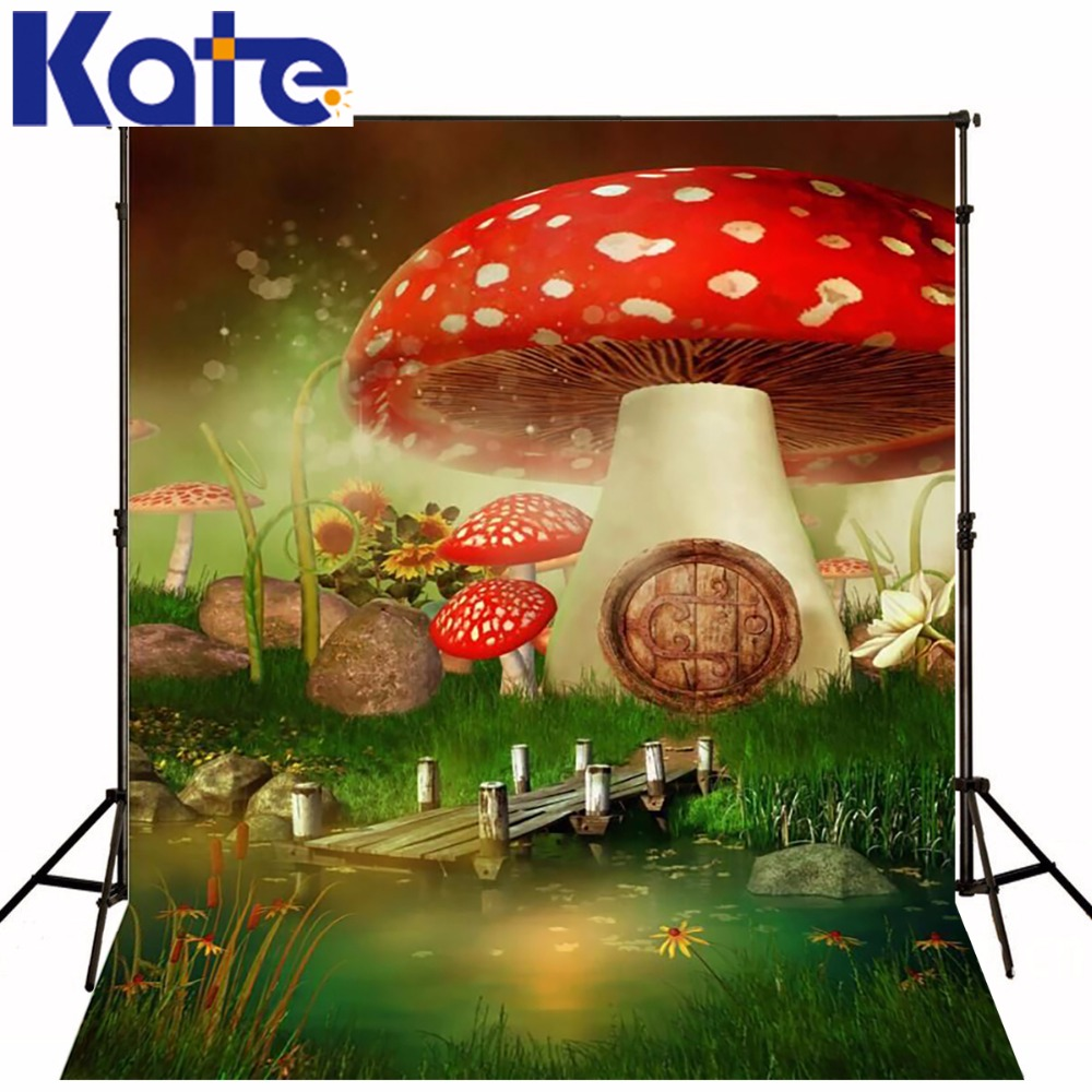 Kate Digital Printing Photography Backdrops Forest Background Red Mushroom For Children Photography Studio Props retro background christmas photo props photography screen backdrops for children vinyl 7x5ft or 5x3ft christmas033
