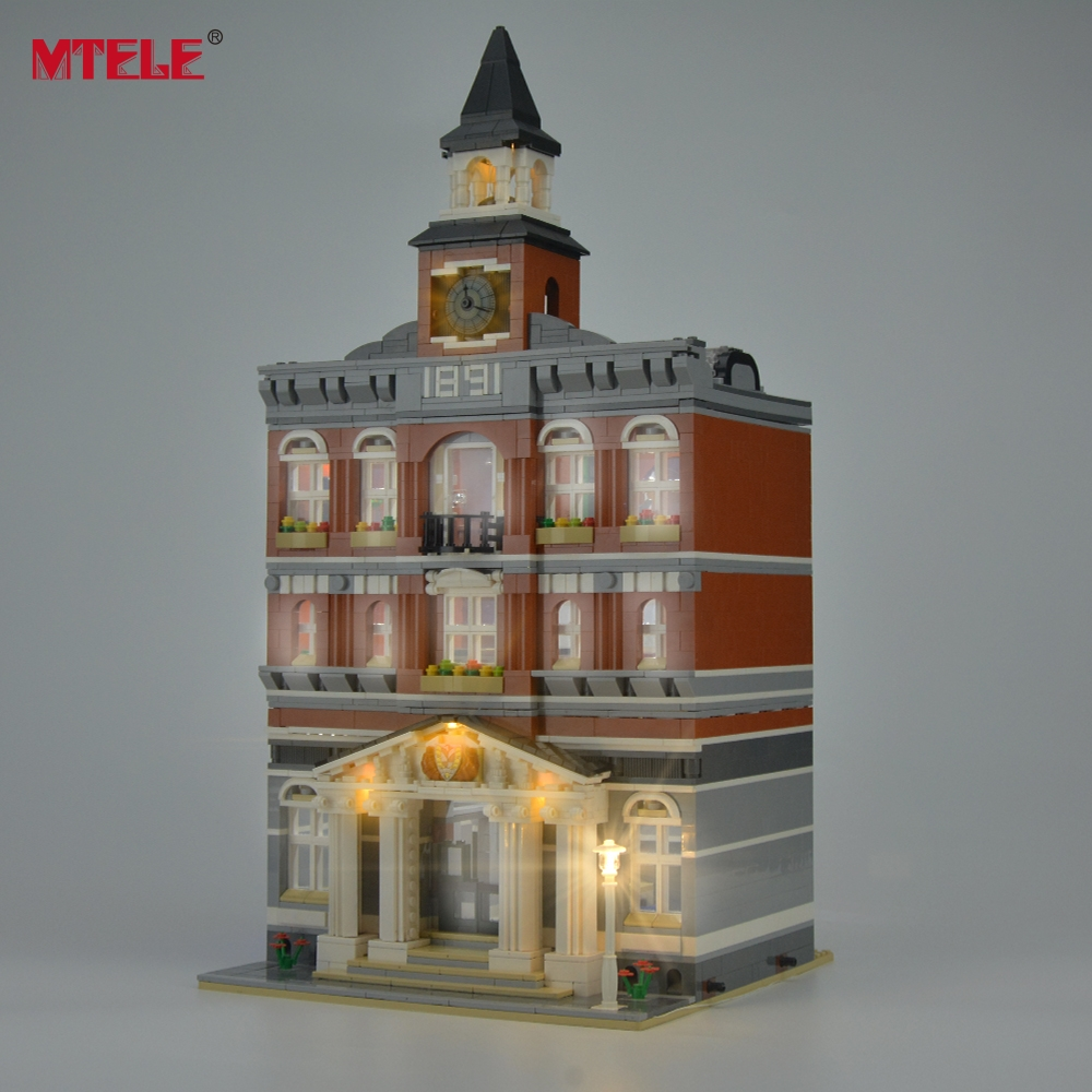 MTELE Brand LED Light Up Kit For Skapere Rådhuset Building Block Lighting Set Kompatibel med Lego 10224 og 15003