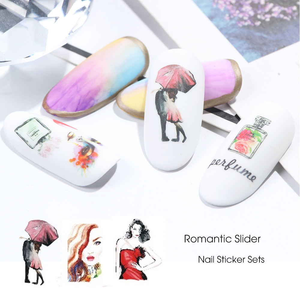 Image 3 - 12 Types Watercolor Romantic Slider Nail Sticker Tower Macarons Perfume Flower Transfer Water Design Manicure Tips CHBN1141 1152-in Stickers & Decals from Beauty & Health
