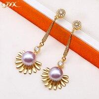 JYX Gorgeous shinning sun pear earrings 925 Silver Pearl Studs Genuine 9mm Oval Round Purple Freshwater Pearl Earrings women