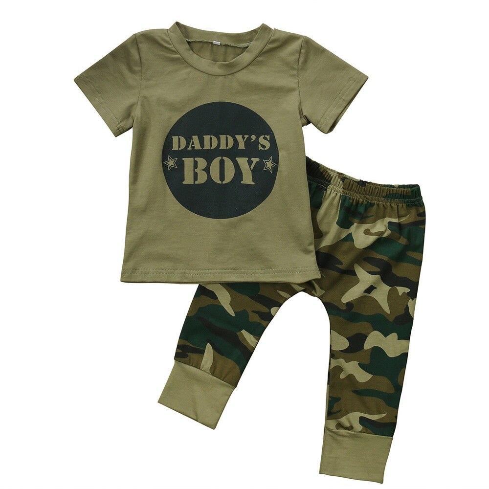 Для новорожденных одежда для малышей для мальчиков и девочек Футболка с камуфляжным принтом комплект со штанами и топами Комплект одежды 0-24 м хлопок Повседневное короткий рукав дети Наборы для ухода за кожей