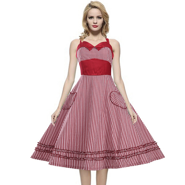 Women Dress Plus Size 3XL Summer Dress 2017 Retro Heart Pockets Ball Gown  Plaid Vintage 60s 50s Rockabilly Chic Dresses vestidos dcb7477a66c5