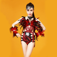 Black Red Feather Dance Costume Stage Performance Outfit Bandage Sequins Tassels Set Women Dancing Wear Singer Clothing Set