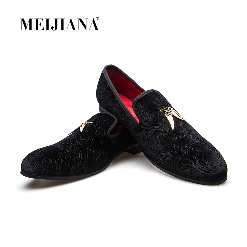 Men Genuine Leather Mens Metallic Textured Slip on Glitter Loafers Shoes