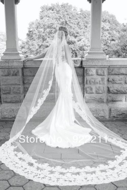 Popular Cathedral Length Bridal Wedding Veil Lace Purfle With Comb In Veils From Weddings Events On Aliexpress