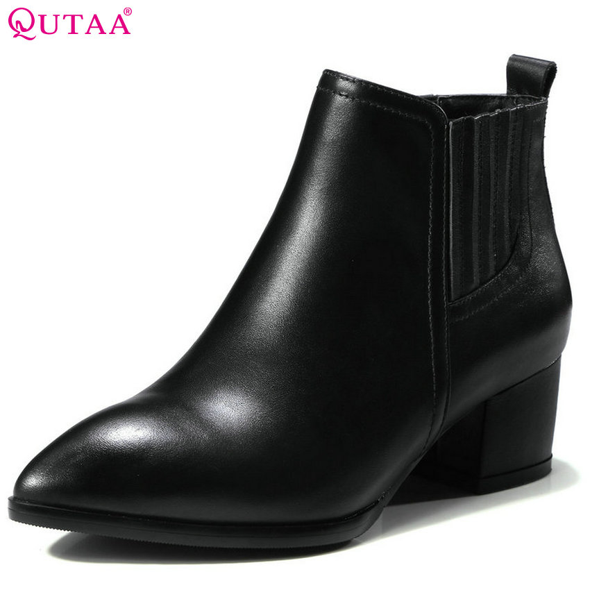QUTAA 2018 Women ANkle Boots Cow Leather + PU Elastic Band Square High heel Pointed Toe Sprind Autumn Women Boots Size 34-39 qutaa 2018 women ankle boots fashion zipper square high heel pointed toe pu leather spring and autumn women boots size 34 43
