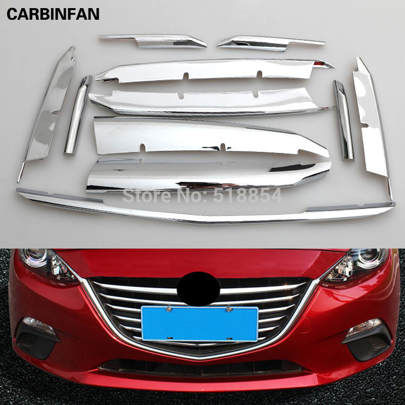 ACCESSORIES FOR MAZDA 3 AXELA 2014 2015 2016 CHROME FRONT RADIATOR MESH GRILL GRILLE BONNET COVER