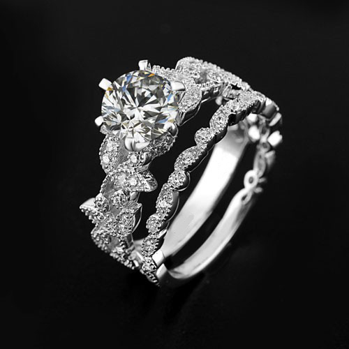 Unique Leaf Design Silver White Gold Plated Womens Engagement RingWedding Ring Top Fashion