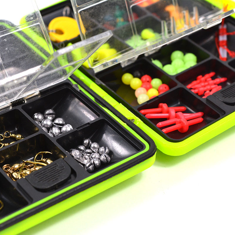 100Pcs-box-Fly-Fishing-Accessories-Box-with-Fishhooks-Float-Lead-Sinker-Swivel-Connector-Beads-Fishing-Tackle (3)