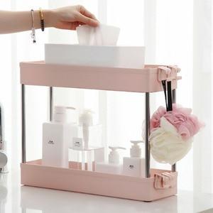 Image 4 - Étagère de rangement pour cuisine, étagère coulissante mince à assemblage mobile en plastique, étagère de salle de bain, roulettes, organiseur permettant de gagner de lespace, 2/3/4 couches