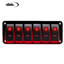 6 Gang Boat Switch Panel LED 12V Toggle Circuit Breaker for Boat Car Marine RV Marine