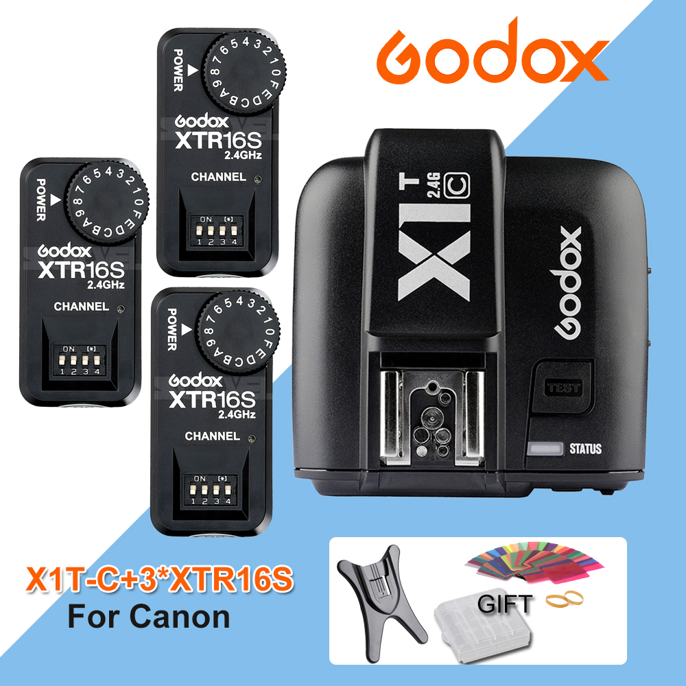 Godox X1T-C TTL 2.4G Wireless Trigger for Canon +3x XTR-16S Flash Receiver for godox V850/V860C/V850II/V860IIC/V860N/V860II-F godox x1t s ttl 2 4g wireless trigger for sony 2x xtr 16s flash receiver for v850 v860 c v850ii v860iic v860n v860ii f v850ii