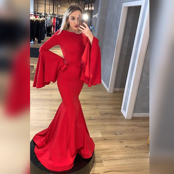 Women Prom Dress Mermaid Long Sleeves Simple Satin Formal Evening Dresses Plus Size Custom High Quality Special Event Gowns