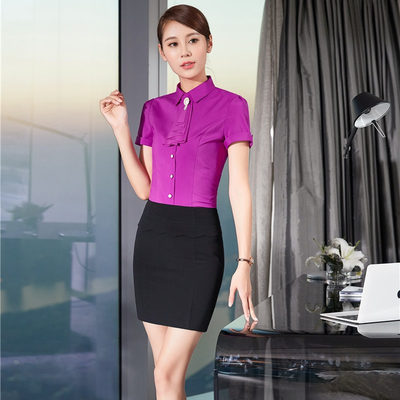 Novelty Purple Formal Professional Work Suits With Tops And Skirt For Ladies Office Female Uniform Styles Beauty Salon Outfits