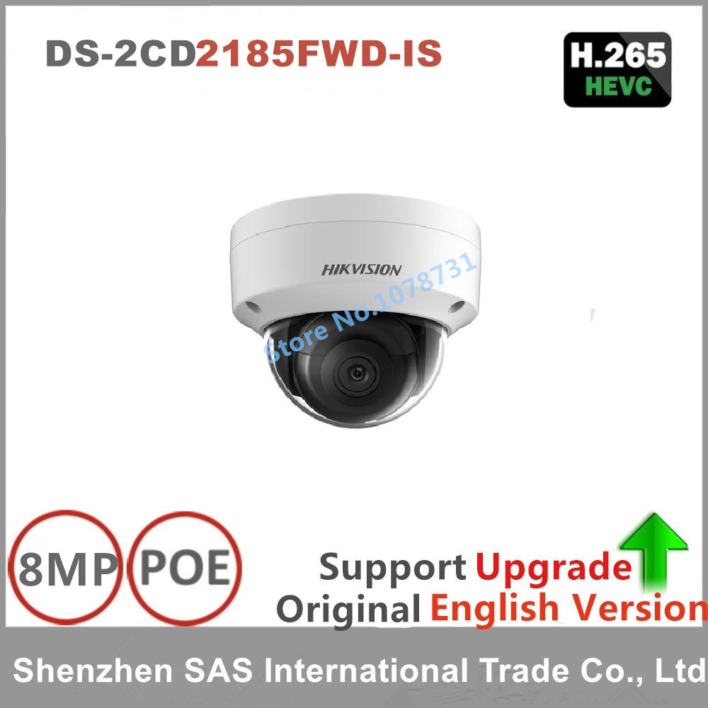 Free shipping English version DS-2CD2185FWD-IS 8MP WDR Fixed Dome Network cctv ip Camera POE, IP67,IR 30M,Audio, IK10,H.265+ free shipping in stock new arrival english version ds 2cd2142fwd iws 4mp wdr fixed dome with wifi network camera