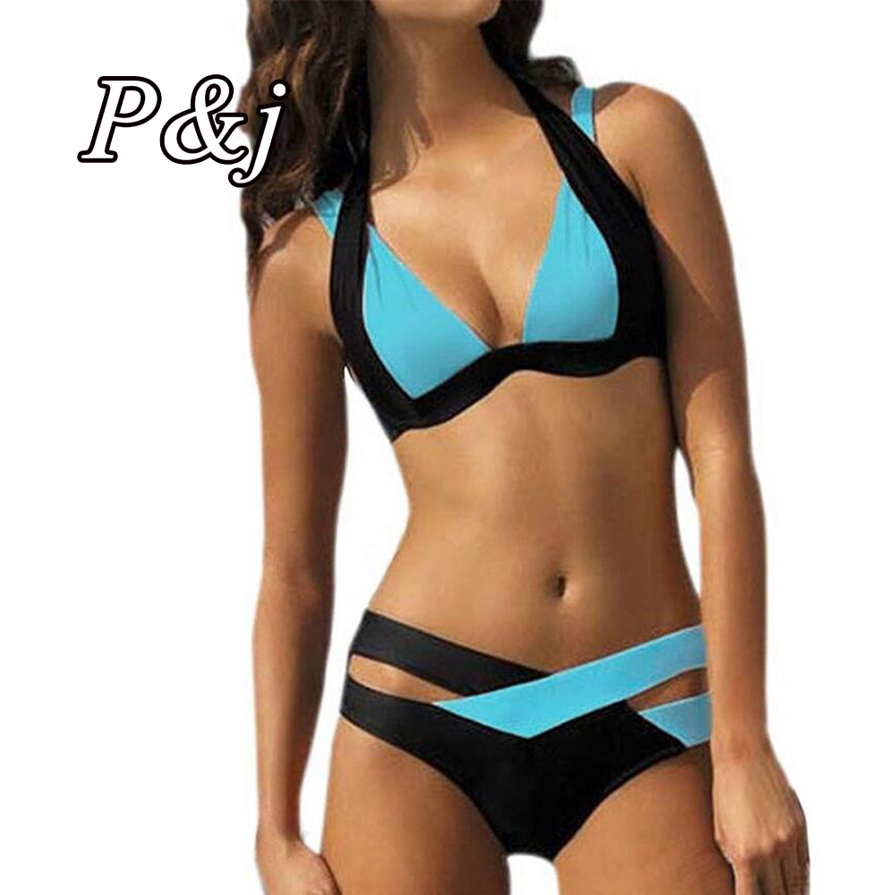 P&j 2017 New Arrival mix color hook sexy Bikini Women Two Pieces Tied Swimwear Biquini Brazilian Padded Bathing Suits