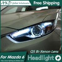 AKD Car Styling For Mazda 6 Headlights 2015 New Mazda6 Atenza LED Headlight Original DRL Bi