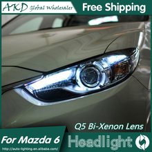 AKD Car Styling for Mazda 6 Headlights 2015 New Mazda6 Atenza LED Headlight Original DRL Bi Xenon Lens High Low Beam Parking