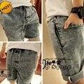 Homens da moda Verão Cinza Neve Shorts Com Cordão Elástico Stretch Cintura Retro Projeto Adolescentes Curtas Calças Jeans bottoms