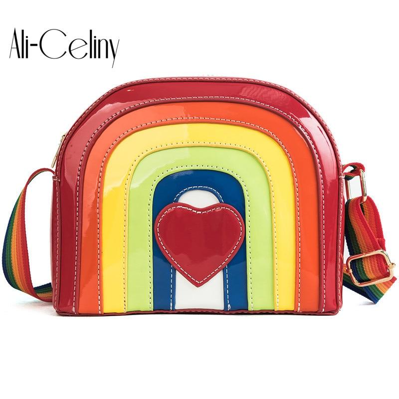 Brand original design Rainbow High Quality Designer Women Boston Bag Leather Bag Women Crossbody Bag Ladies Tote