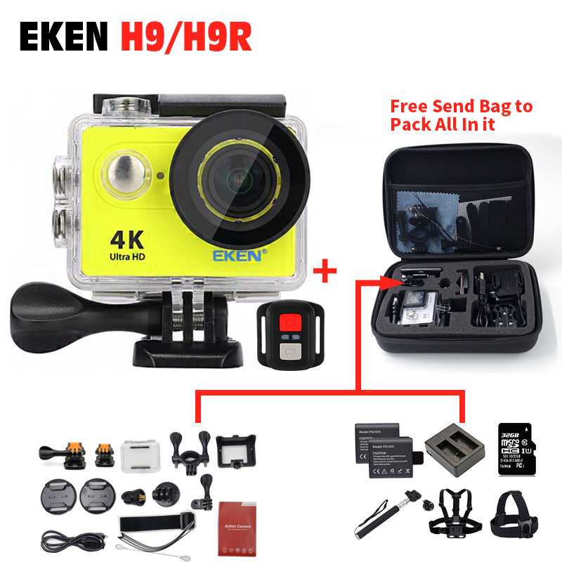 2018 New ~ Original EKEN Action camera H9 / H9R 4K Sport Camera with remote HD WiFi 1080P 30fps go waterproof pro actoin Cam battery dual charger bag action camera eken h9 h9r 4k ultra hd sports cam 1080p 60fps 4 k 170d pro waterproof go remote camera